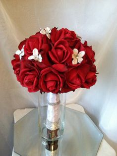 Real Touch Red Rose Bouquet with White Bling Flower Accents