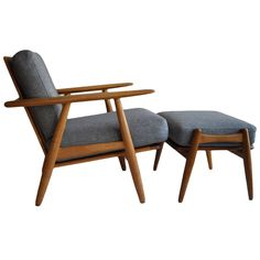 Hans J Wegner Cigar Chair with Footstool, Original, 1950s GETAMA | From a unique collection of antique and modern lounge chairs at https://www.1stdibs.com/furniture/seating/lounge-chairs/