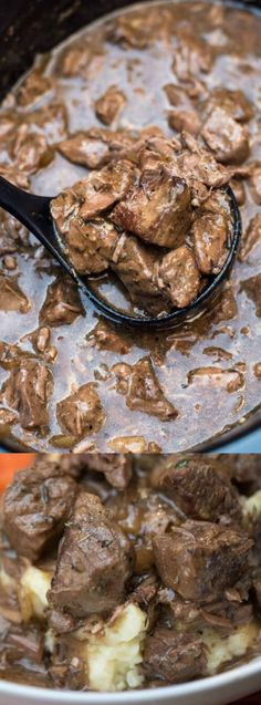 These Slow Cooker Beef Tips with Gravy from Valerie's Kitchen are the most delicious way to prepare steak in the cold winter months! The steak comes out of the slow cooker tender with the most delicious gravy, YUM!