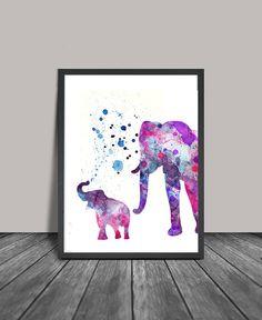 Elephant Print, Elephant Watercolor Wall Art, Elephant Painting, Illustration Elephant Poster Wall Decor Drawing Elephant Digital Print Hanging -
