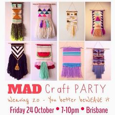 MAD Craft Party: Weaving (Your better beWEAVE it!) After the amazing time we had at the last MAD Craft Party: Weave it to me. Fabric Crafts, Paper Crafts, Loom Weaving, Craft Party, Paper Piecing, Best Part Of Me, Basket Weaving, Hand Sewing, Mad
