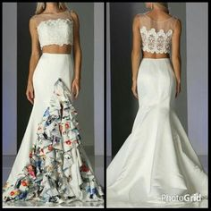 Two Piece Set Trumpet Shape Long Prom Dress with Illusion Neckline and Semi Sheer Back, Open Midriff, Floor Length Skirt has Above Knee Length Front Slit with Ruffle Hem and Sweeping Train Detail.