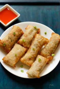 spring roll recipe with video and step by step photos – yummy and a popular indo chinese snack recipe of veg spring roll. these delicious spring rolls are crunchy from outside, with a spiced vegetable filling from inside. Appetizer Recipes, Snack Recipes, Vegan Recipes, Cooking Recipes, Healthy Veg Recipes, Quick Appetizers, Baker Recipes, Fodmap Recipes, Skinny Recipes
