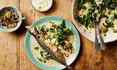 Thomasina Miers' roast mackerel with charred spring onion salsa and horseradish cream.