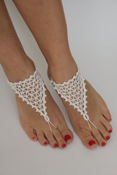 Wedding Barefoot SandalsBeach wedding shoesWhite by craftbyaga