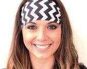 Black & White Chevron | Fitness headband | Yoga headband | Workout headband | Running headband | Chevron Print | Buy Any 5, Get 1 FREE!