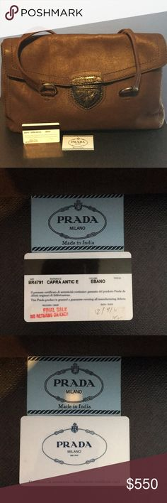 Prada Shoulder Bag Brand New with authentication card! Includes box! A vintage piece my mom no longer needs ! Please check all pictures as I provided detailed pictures ! Prada Bags Shoulder Bags