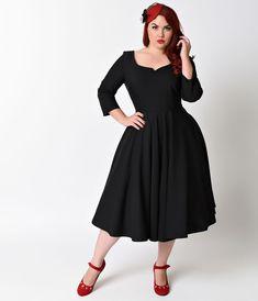 Plus Size 1950s Vintage Style Black Quarter Sleeve Serena Stretch Swing Dress $138.00 AT vintagedancer.com