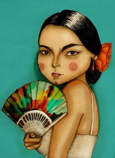 Olja Mon de York aka Maripili #art #drawing #illustration #digital #painting #fan #style #tropical #exotic #woman