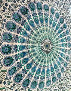 Indian Mandala Hippie Tapestry Wall Hanging Bedding Bedspread Twin Ethnic Throw #Handmade #Mandala
