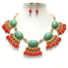 Crystal Green and orange necklace.  $30.00