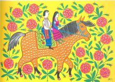 Maiden and Cossack enjoying a ride on horseback - Maria Pryimachenko, 1982
