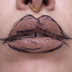 """Sketch lip art. - @limecrimemakeup buffy - @katvondbeauty tattoo liner in trooper - @vidakush septum  #limecrime #katvondbeauty #kvdlook #katvond…"""