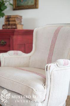 Red U0026 White Grain Sack Chair