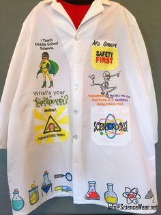 Start school with a personalized, illustrated lab coat!  See some of my work on Facebook.com/ScienceWear Middle School Science, Beginning Of School, Teacher Apron, Adidas Jacket, Lab, Thats Not My, How To Wear, Facebook, Google Search