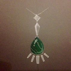 Free hand and stencil drawn sketch and paint up of malachite and diamond pendant by Edward Fleming