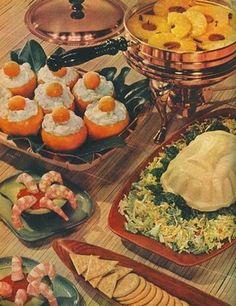 Color Vintage Photo, c. 1960, Dinner & Pink Cake. | Retro Food ...
