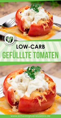 Stuffed Tomato with Tzatziki - Low Carb - LCHF - Keto, dishes dinner . - Stuffed tomato with tzatziki – low carb – LCHF – keto, meals # Filled - Salad Recipes For Dinner, Chicken Salad Recipes, Healthy Salad Recipes, Lunch Recipes, Low Carb Recipes, Healthy Snacks, Turkey Recipes, Crockpot Recipes, Easy Recipes