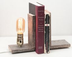 Book Ends- Rustic Wood Lighting, Bookends, Wood Lamp, Lighting, Exposed Edison Bulb.