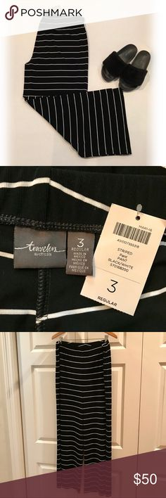"""*️⃣ NWT! Chico's Travelers Pants NWT! Wide leg black pants with narrow white stripes from Chico's Travelers Collection. Pack it, fold it, and it won't wrinkle. And it's so comfortable! Never worn. Waist 19"""". Inseam 30"""". Width of hem 14"""". Chico's Pants Wide Leg"""