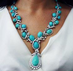 David Webb Turquoise & Diamond Platinum Necklace with detachable pendant/brooch 4