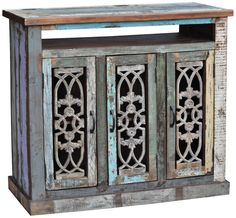 Roma Collection Multi-Color Reclaimed Wood TV Stand -