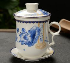 Top Grade Chinese (Landscape) Ceramic Tea Cup/ Office Cup , Lid and Saucer