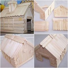 How to build a house with Popsicle Sticks step by step DIY tutorial instructions. - How to build a house with Popsicle Sticks step by step DIY tutorial instructions, How to, how to do - Popsicle Stick Crafts For Adults, Popsicle Crafts, Craft Stick Crafts, Wood Crafts, Crafts For Kids, Resin Crafts, Popsicle House, Popsicle Stick Houses, Diy And Crafts Sewing