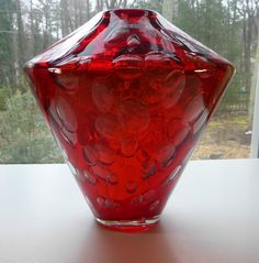 Murano Salviati Millebolle large Red Glass Vase signed plus label (2001)