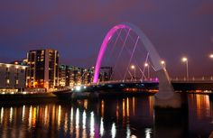 The beautiful Clyde arc lit up ahead of the 2014 Glasgow Commonwealth Games!
