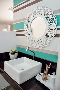 teal Bathroom Decor Striped walls for bathroom Natural Home Decor, Unique Home Decor, Cheap Home Decor, Diy Home Decor, Trough Sink Bathroom, Brown Bathroom Decor, Colorful Bathroom, Bathroom Ideas, Tableau Design