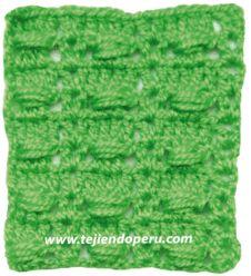 Punto fantasía tejido a crochet: motitas o piñas horizontales!