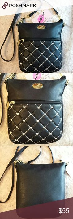 Betsy Johnson Nwt Crossbody Bag Lb Brandy NWT Super cute ! Luv Betsy Johnson Black Quilted with White Dot Hearts Crossbody Bag, Zip Top,  Striped Print inside,  Zip pocket on front Betsy Johnson  Bags Crossbody Bags