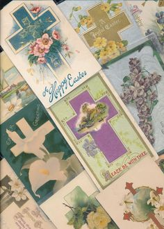 LOT of 10 BEAUTIFUL vintage EASTER CROSSES, CROSS  POSTCARDS-ttt725 #Easter