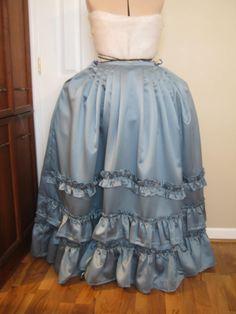 Blue satin colonial style petticoat