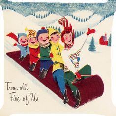 """Family children snow sledge sleigh Christmas joy pillow cushion Cover 2 side 18"""" #handmade"""