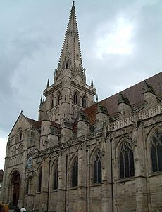 Autun Cathedral in France. Philip of Cleves, brother to Anne of Cleves' grandfather (Anne's great-uncle), was bishop here from 1505 Romanesque Sculpture, Romanesque Art, Romanesque Architecture, Renaissance Architecture, Architecture Art, French Cathedrals, Catholic Diocese, Catholic Churches, Anne Of Cleves