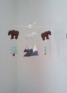 Mountains, bears and fir trees baby mobile £35.00