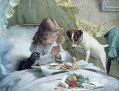 """Suspense"" (Saying Our Prayers) by Charles Burton Barber (1845 – 1894,English)"
