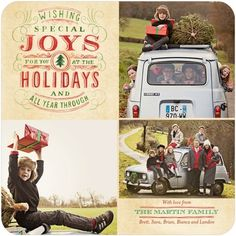 This holiday photo card captures several moments for the family. Use photos from throughout the year, or several takes from one special day.