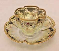 Vintage MOSER Yellow to Clear Demitasse Cup and Saucer Set Enamel, Gild, Jewels #Moser