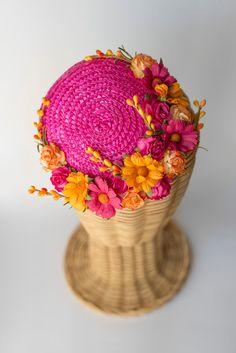Straw mini hat  flowers millinery headpiece  by thePoppynet
