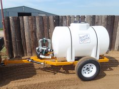 The 300 gallon water trailer is perfect for small round pens or indoor arenas. The trailer has a Honda motor with a banjo 190 gallon per minute pump. The spray bar is 1 with two spray nozzles to make sure that you are getting an adequate water cover. Trailer Plans, Trailer Build, Car Trailer, Utility Trailer, Garden Tool Storage, Water Storage, Trash Pump, Garden Tractor Attachments, Bike Cart
