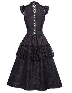 d6b3169e2464 Gothic Kleid Damen Steampunk Kleid Lang Schwarz Corsagenkleid. Florale  Spitze, die Schnürung, ein Pfau Muster sowie Exquisite Einzelheiten macht  das Kleid ...