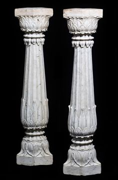 Marble Columns - India (Mughal), 18th Century - acanthus leaves design
