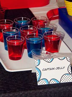Avengers Party:  Captain jelly, but combine red and blue in layers in one cup