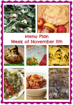 Delicious Recipes and Meal Ideas with this Menu Plan for the week of November 11th