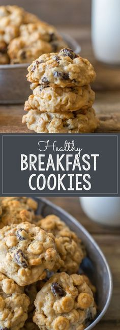 Healthy Breakfast Cookies – Lovely Little Kitchen With no refined sugar, and healthy stuff like white whole wheat flour, oats, and peanut butter, these cookies are perfect for an easy breakfast on-the-go! Healthy Breakfast Cookies – Lovely Little Kitchen Breakfast And Brunch, Best Breakfast, Health Breakfast, Breakfast Tailgate Food, Morning Breakfast, Vegan Breakfast, Healthy Sweets, Healthy Baking, Healthy Meals