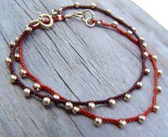 Holiday Sale Hand Crocheted Bracelet Brown Cord by ravitschwartz
