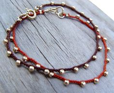 Hand Crocheted Bracelet Brown Cord with Small от ravitschwartz
